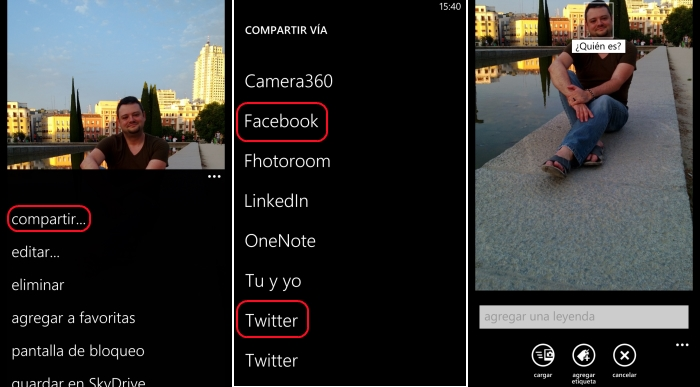 compartir imagenes windows phone