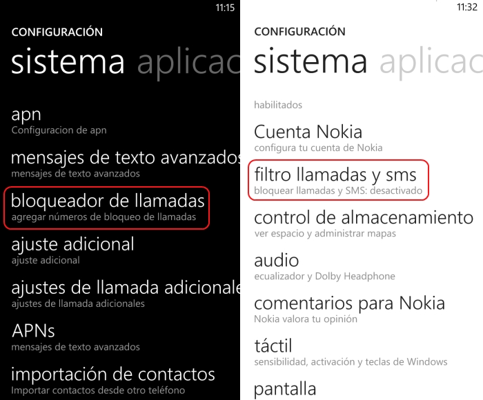 bloqueo llamadas windows phone
