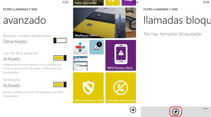 configuracion nokia bloqueo llamadas y sms windows phone