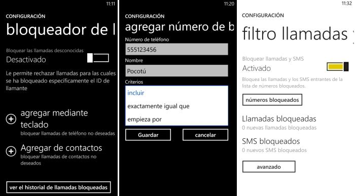 configurar bloqueo llamadas windows phone