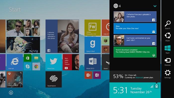 Boceto del panel de notificaciones Windows 8,1