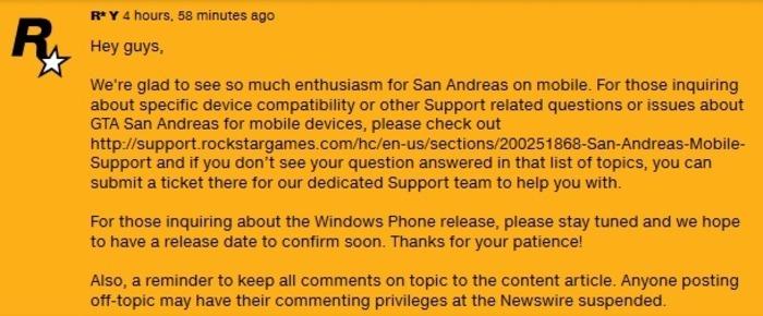Comunicado Rockstar GTA San Andreas
