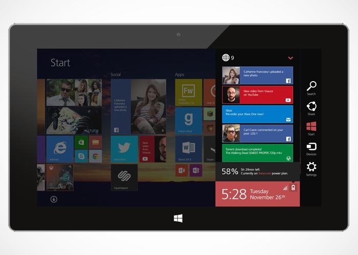 Panel de notificaciones Windows 8