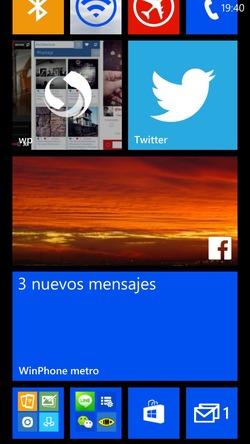 Pantalla de inicio Windows Phone 8