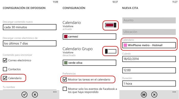 configuracion calendarios windows phone 8