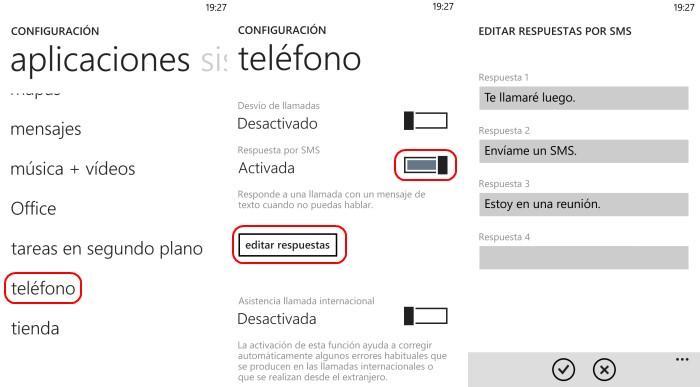 configuracion respuestas sms windows phone 8