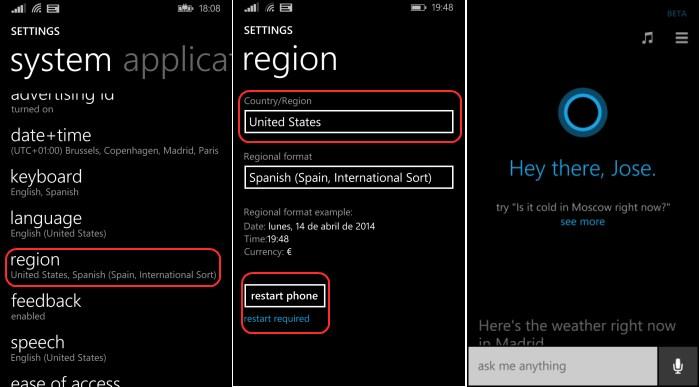 activar cortana windows phone 8.1 preview