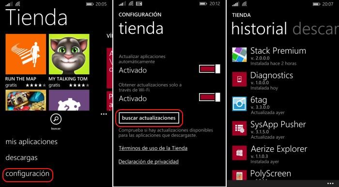 buscar actualizaciones aplicaciones windows phone 8.1