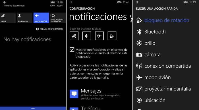 configura action center windows phone 8.1