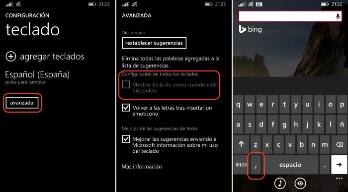 configurar coma teclado windows phone 8.1