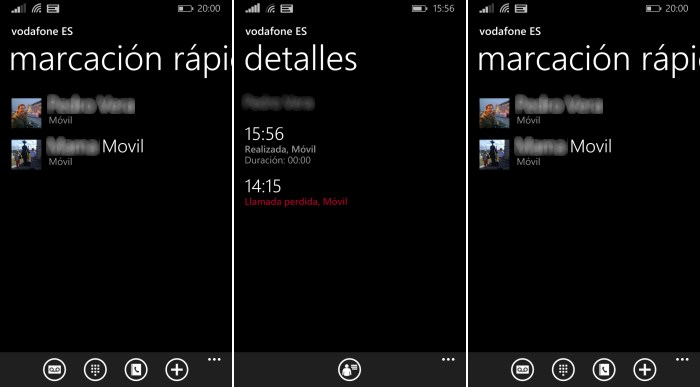 listado llamadas marcacion rapida windows phone 8.1