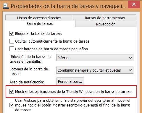 mostrar aplicaciones modern ui en barra de tareas