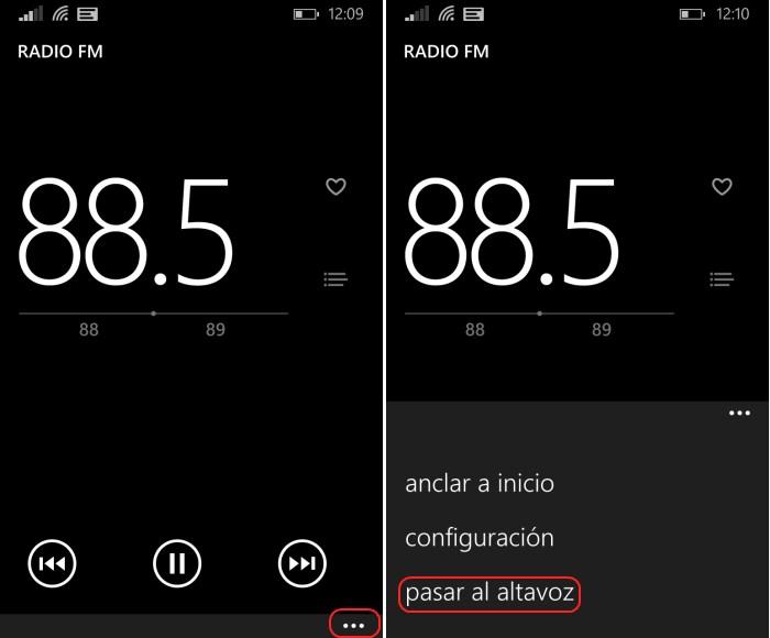 rafio fm por altavoz en windows phone 8.1
