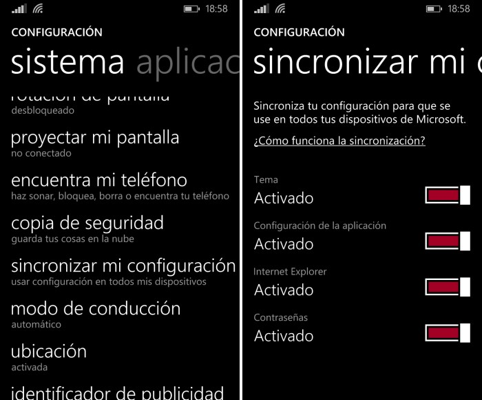 sincroniza configuracion windows phone 8.1 windows 8.1