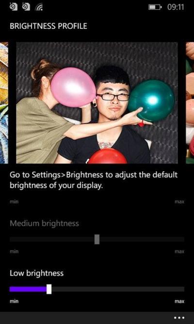 Lumia Cyan control del brillo