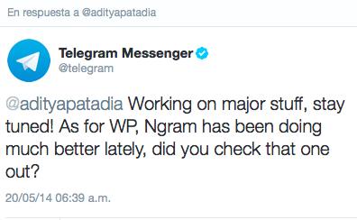 Telegram twitter ngram