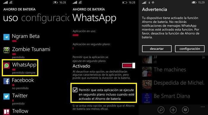 WhatsApp ahorro batería capturas