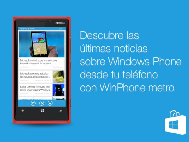 Descarga ya la aplicación oficial de WinPhone metro para Windows Phone