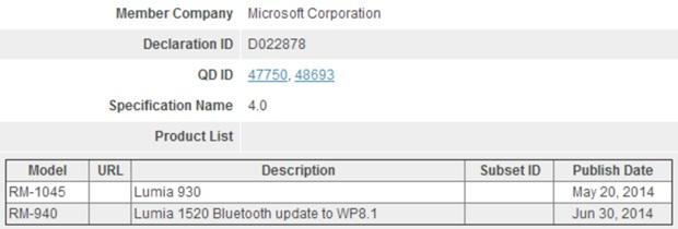 Bluetooth Lumia 1520