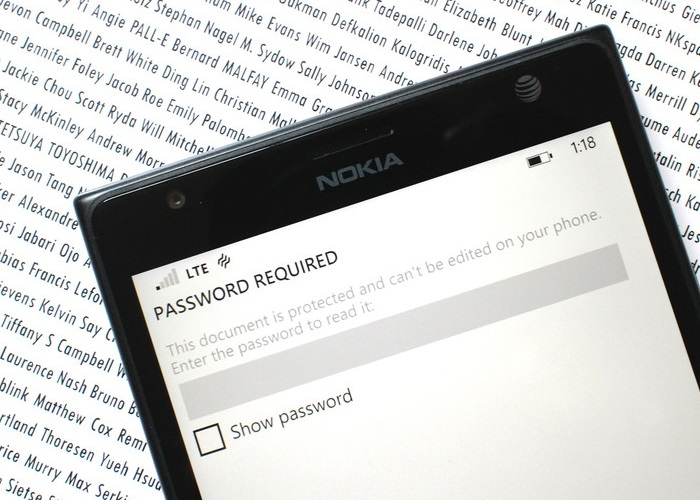 windows phone 8.1 office password