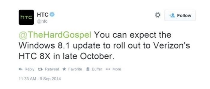 HTC 8X actualización octubre