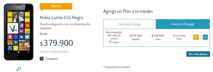Movistar Lumia 635 contrato