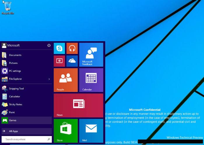Windows 9 escritorio filtrado