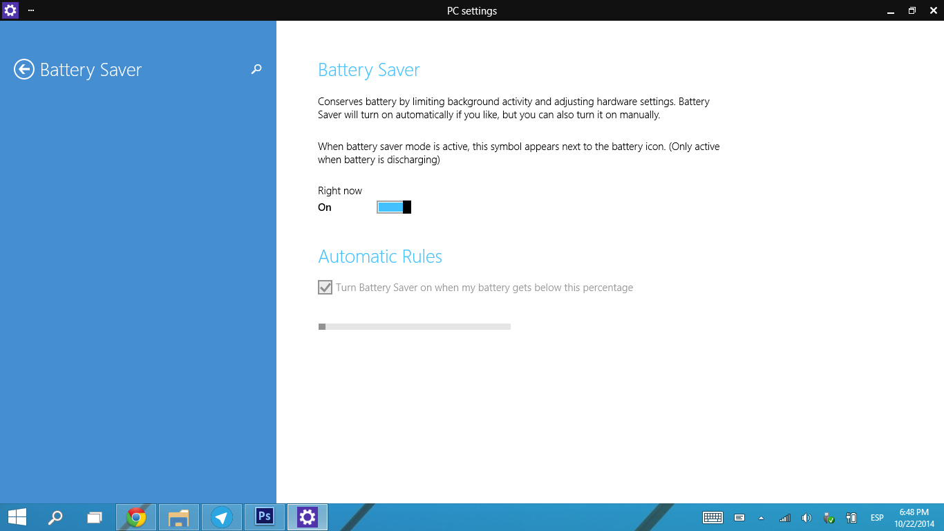 Ahorro de batería en la nueva versión de Windows 10 Techinical Preview