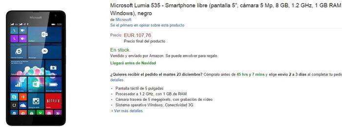 Microsoft Lumia 535 Amazon España