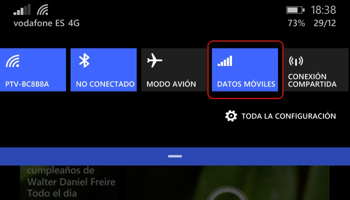 accion rapida activar desactivar datos moviles windows phone 8.1