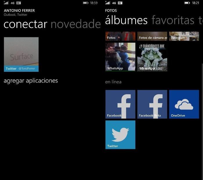 Twitter integracion hub fotos y contactos