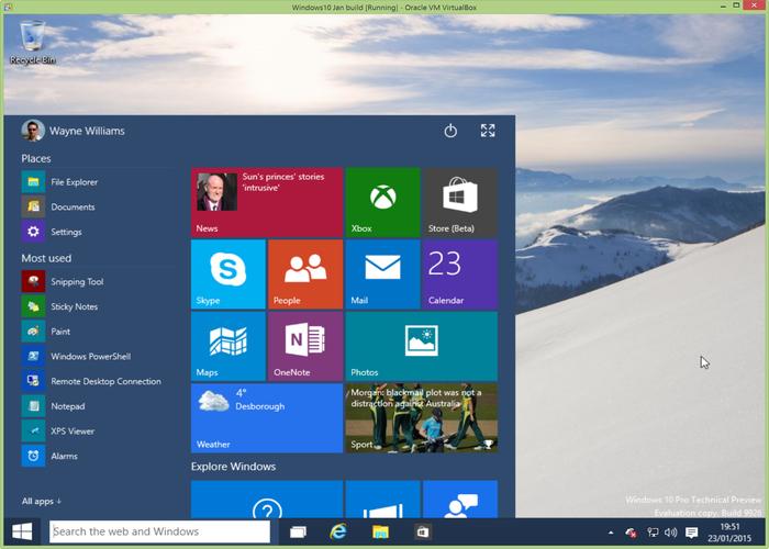 Windows 10 Build 9926 escritorio