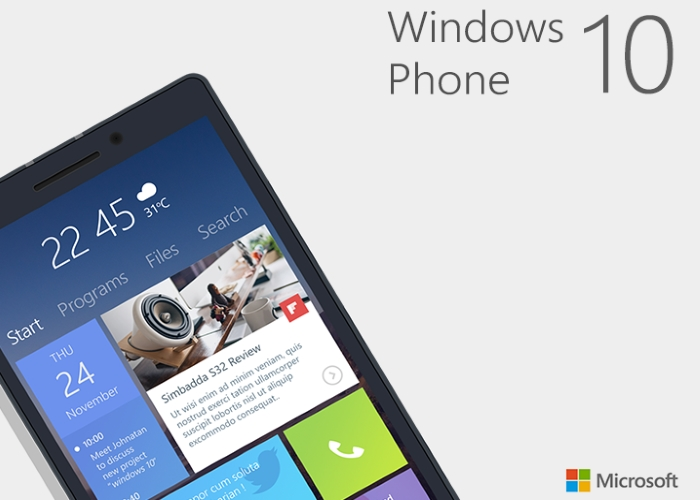 Concepto sobre Windows 10 para smartphones
