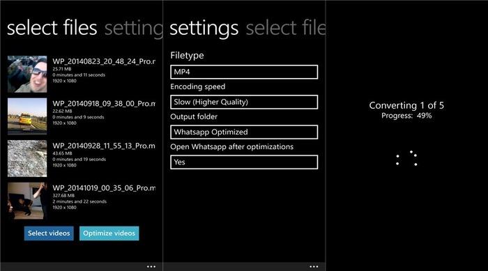 Whatsapp Video Optimizer capturas
