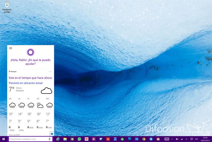 Cortana en español para PC