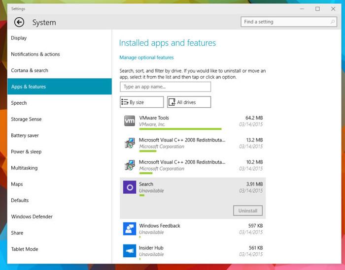 Windows 10 Build 10036 gestor de aplicaciones