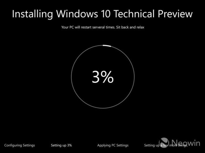 Windows 10 Preview interfaz instalación