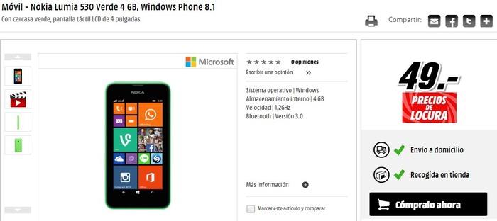 Nokia Lumia 530 oferta