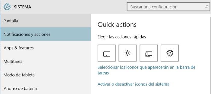 configurar acciones rapidas en windows 10 para PC