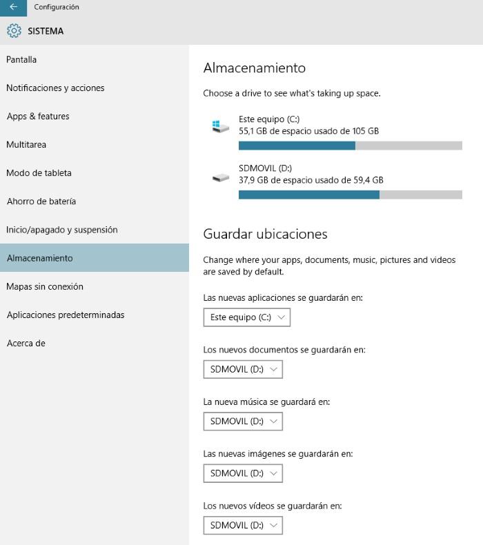 gestión almacenamiento en windows 10