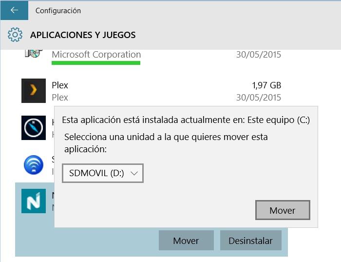 mover una aplicación instalada a tarjeta SD u otra unidad en Windows 10