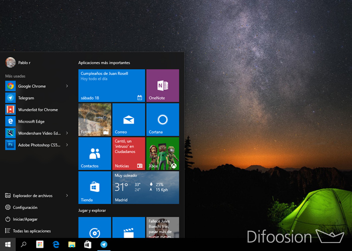 Menu Inicio Windows 10
