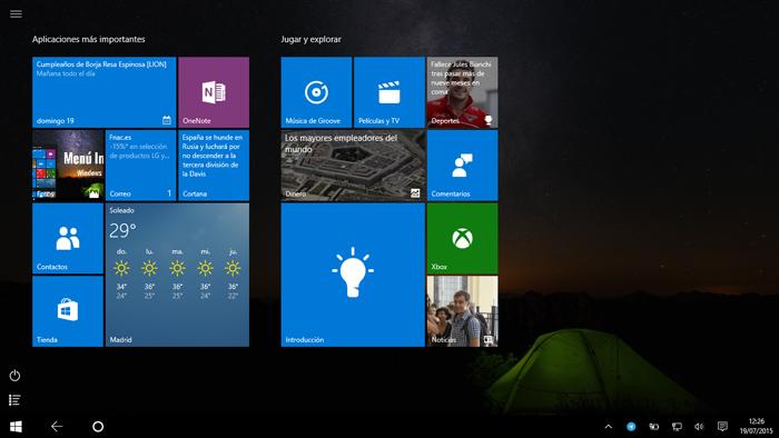 Nuevo Start Menu en Windows 10 Tablets