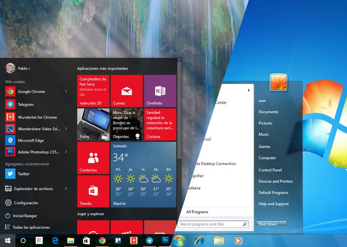 Windows 10 y Windows 7 frente a frente