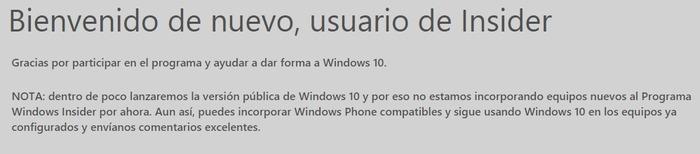 Windows Insider bienvenida