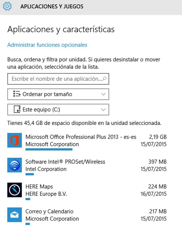 almacenamiento de aplicaciones y características en Windows 10 para pc
