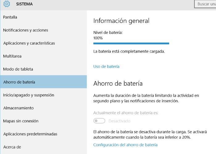 configuracion ahorro de bateria windows 10 para pc