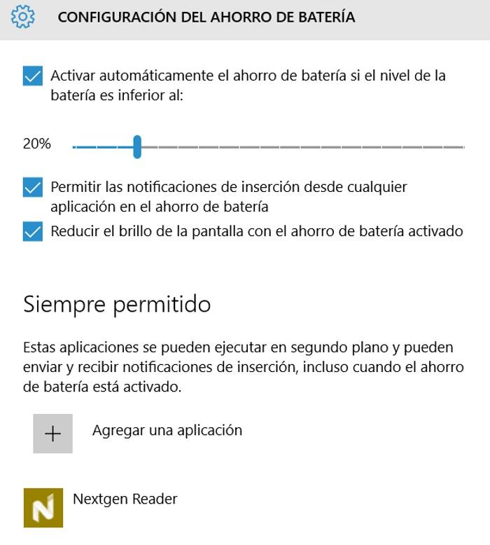 configurar cuando se activa ahorro de batería en windows 10 pc y aplicaciones permitidas