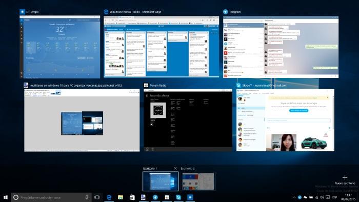 multiples escritorios windows 10 para PC