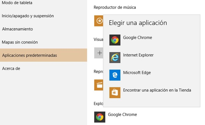 Cambiar navegador predeterminado windows 10